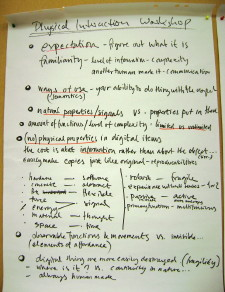 flipchart - notes on physical vs digital artefacts